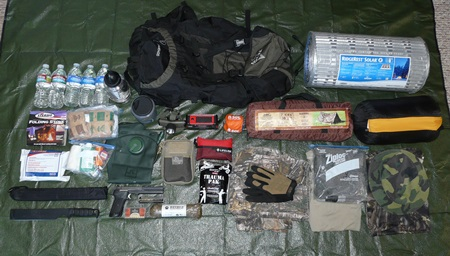 Bug Out Bag Contents on Tarp