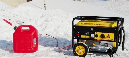 Champion 3500 Watt Generator in Snow
